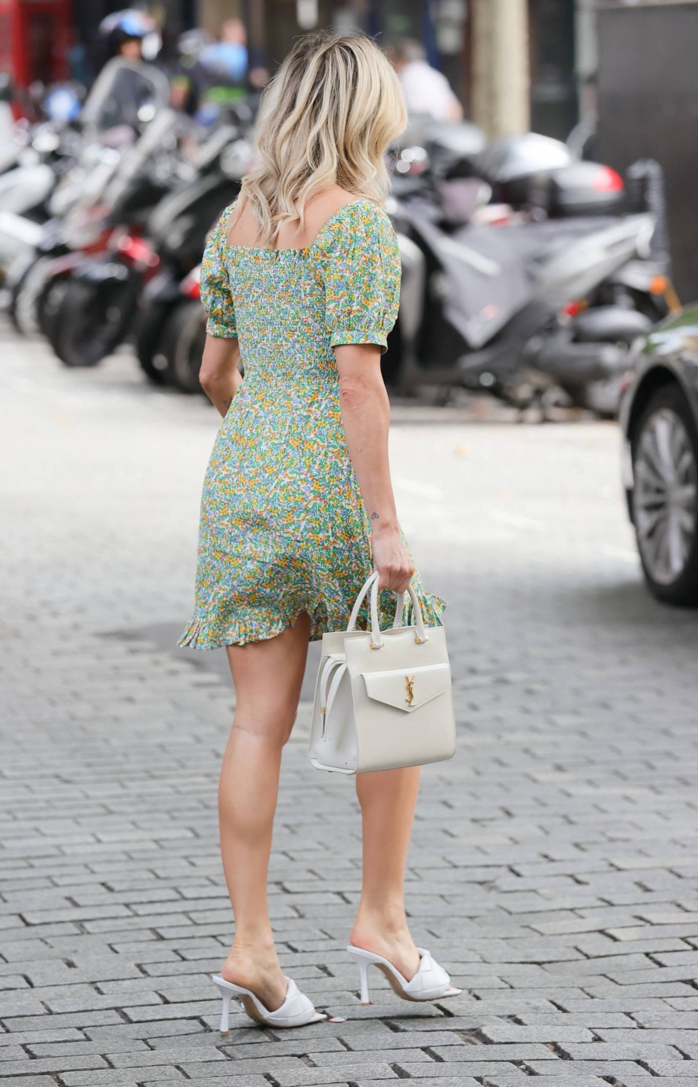 Ashley Roberts 2021 : Ashley Roberts – Seen at Heart radio in floaty floral mini dress in London-09