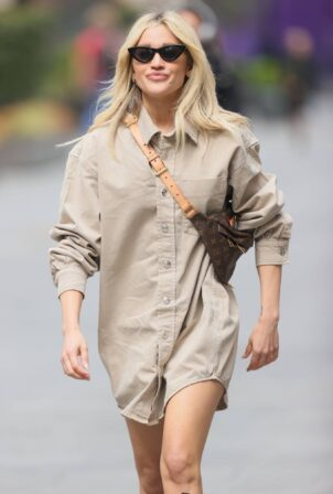 Ashley Roberts - Seen in short shirt dress at Heart radio in London