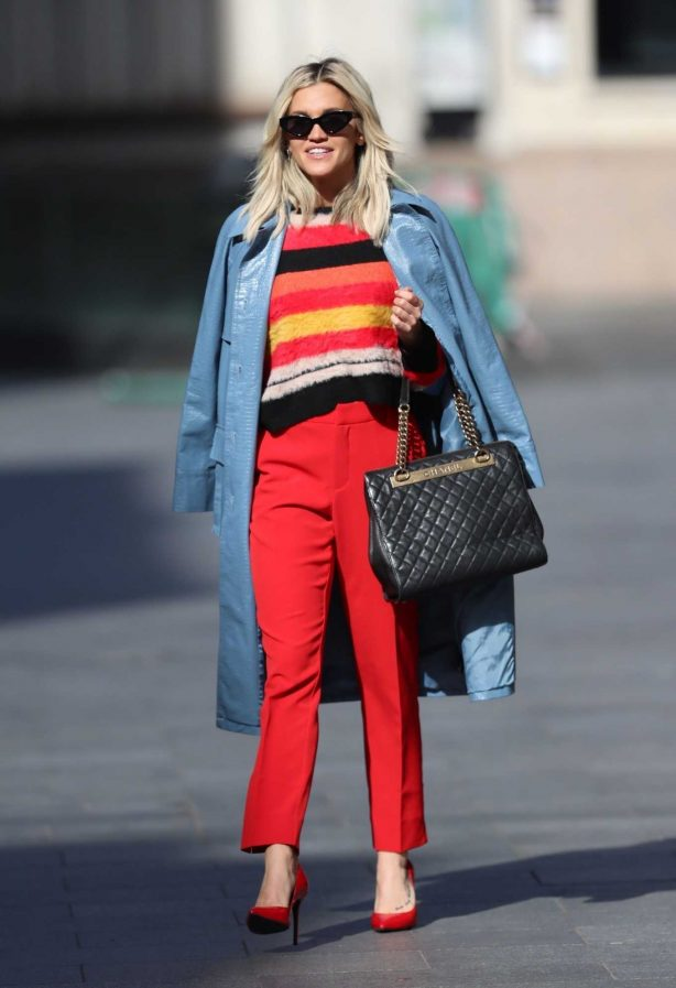 Ashley Roberts - Seen leaving Heart Radio in red trouser and YSL Handbag in London