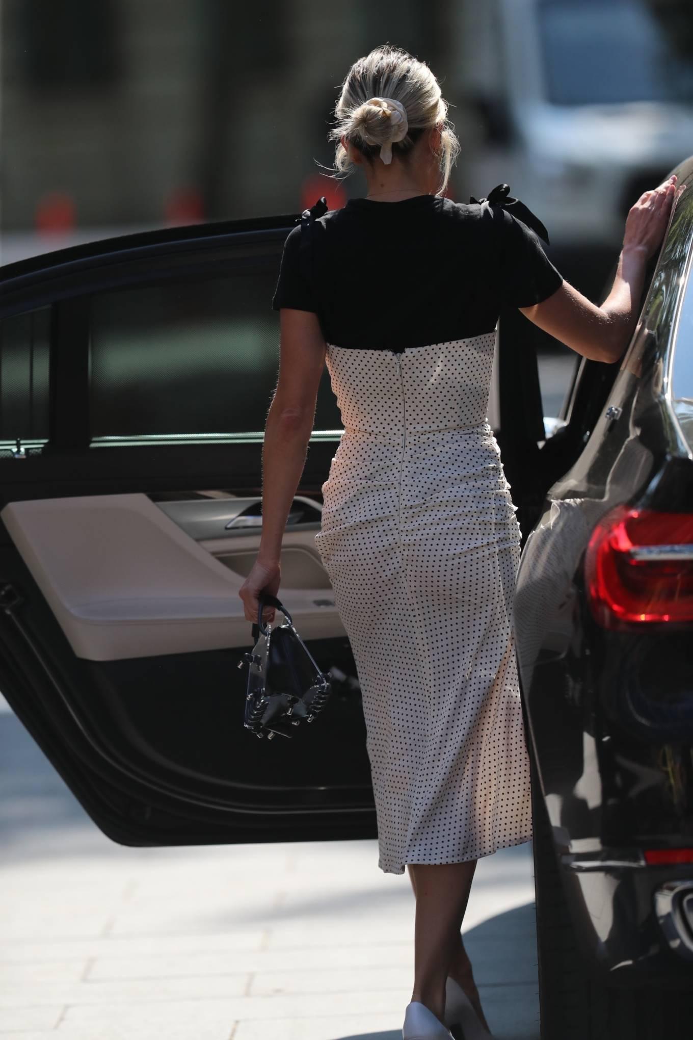 Ashley Roberts - Seen leaving the Global studios in polka dot dress