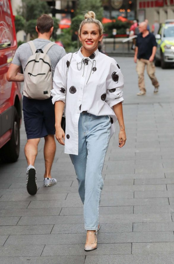 Ashley Roberts seen while exits the Heart Radio Studios in London