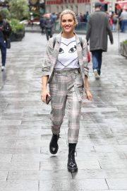 Ashley Roberts - Wearing a gingham trouser in London