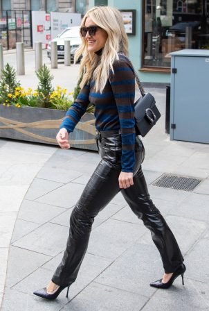 Ashley Roberts - wearing a Prada top and Fiorucci trousers in London