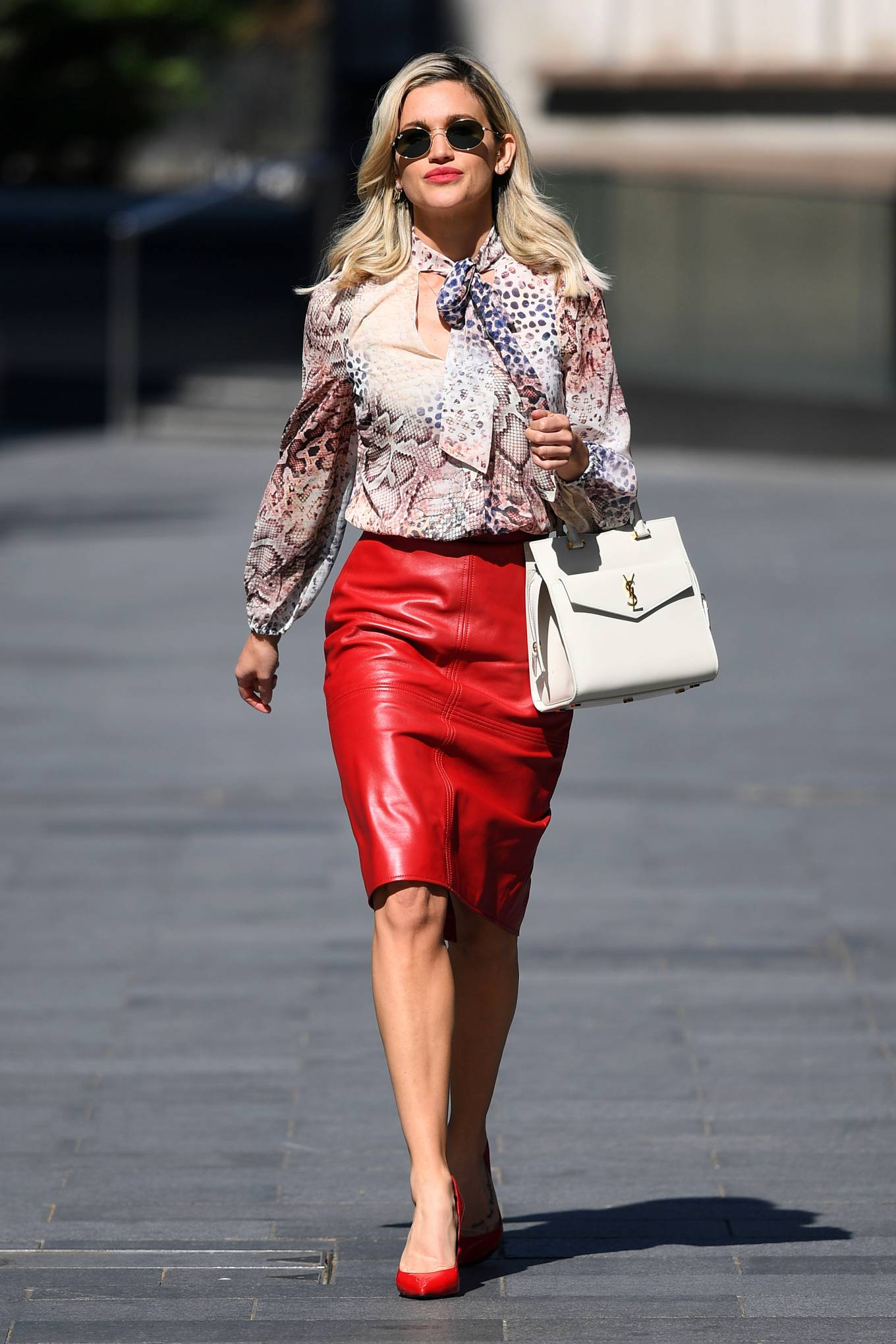 Ashley Roberts - Wearing a red skirt while departing the Global Radio studios in London