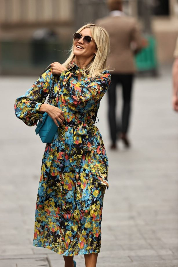 Ashley Roberts - Wearing floral print dress in London