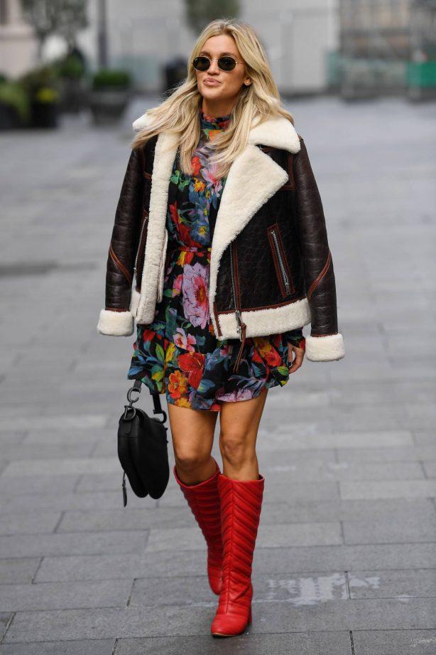 Ashley Roberts - Wearing mini dress while leaving the Global studio in London