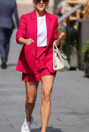Ashley Roberts - Wearing pink shorts suit at Heart Radio in London