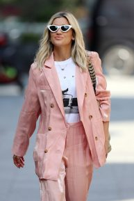 Ashley Roberts - Wearing rose gold trouser suit in London