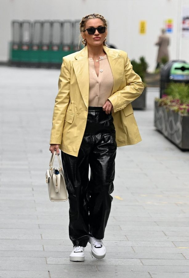 Ashley Roberts - Wearing ROTATE Birger Christensen jacket and trousers in London