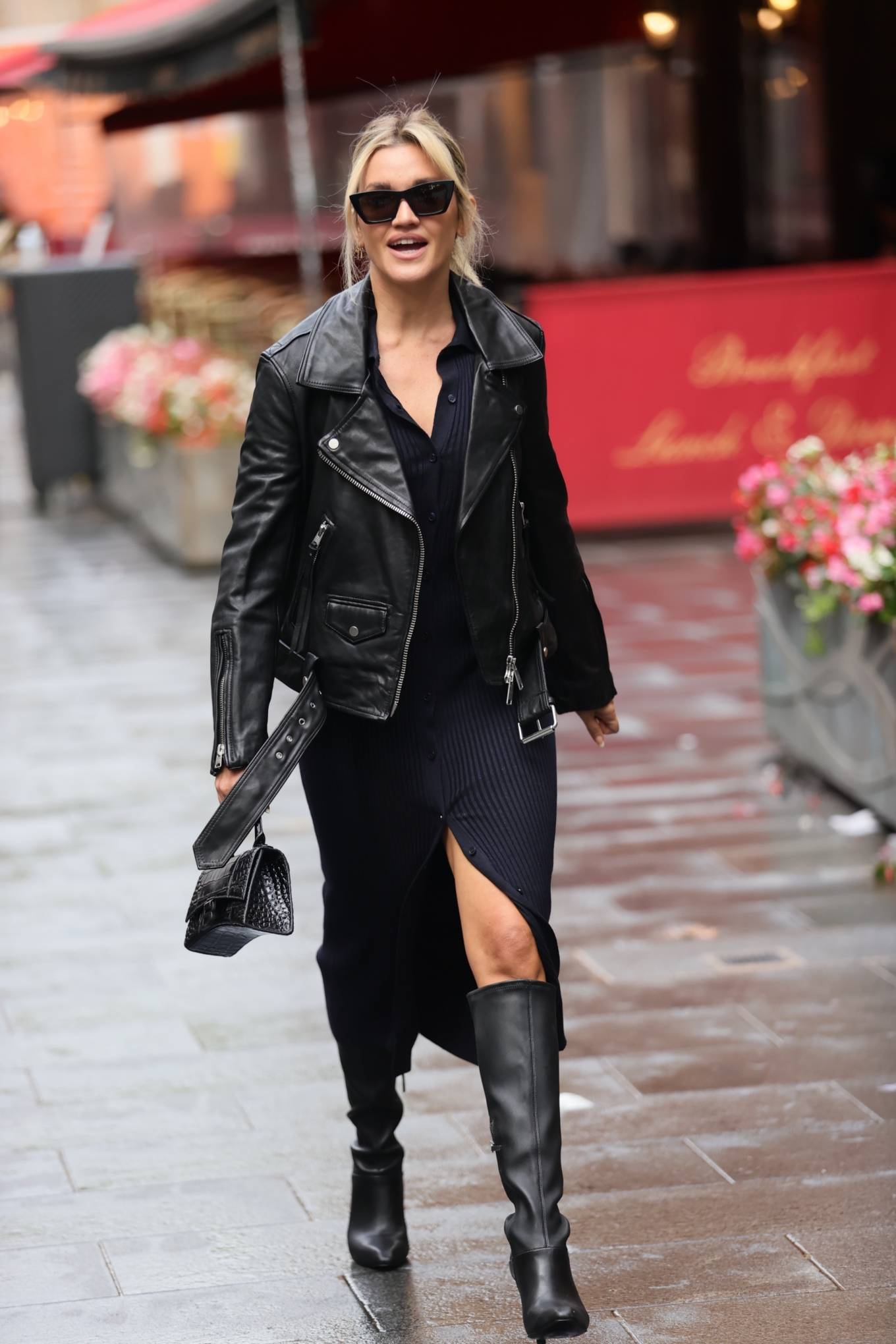 Ashley Roberts - Wearing split dress at Heart radio in London