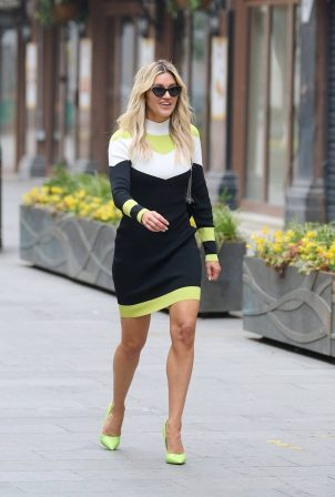 Ashley Roberts - Wears an outfit by Karen Millen in London