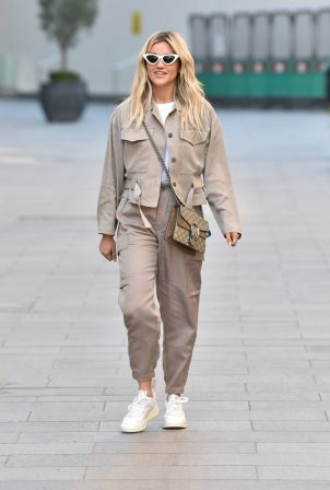 Ashley Roberts - Wears French Connection and shoes by Adidas at Heart Radio Studios in London