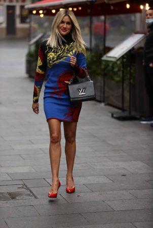 Ashley Roberts - Wears multicoloured print dress at Heart radio in London