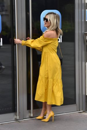 Ashley Roberts - Wears mustard yellow River Island dress in London