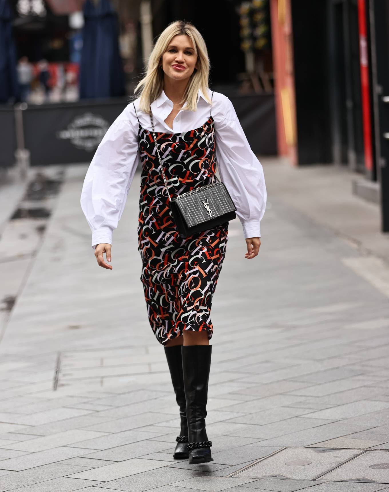 Ashley Roberts - Wears printed dress as she exits Heart radio in London