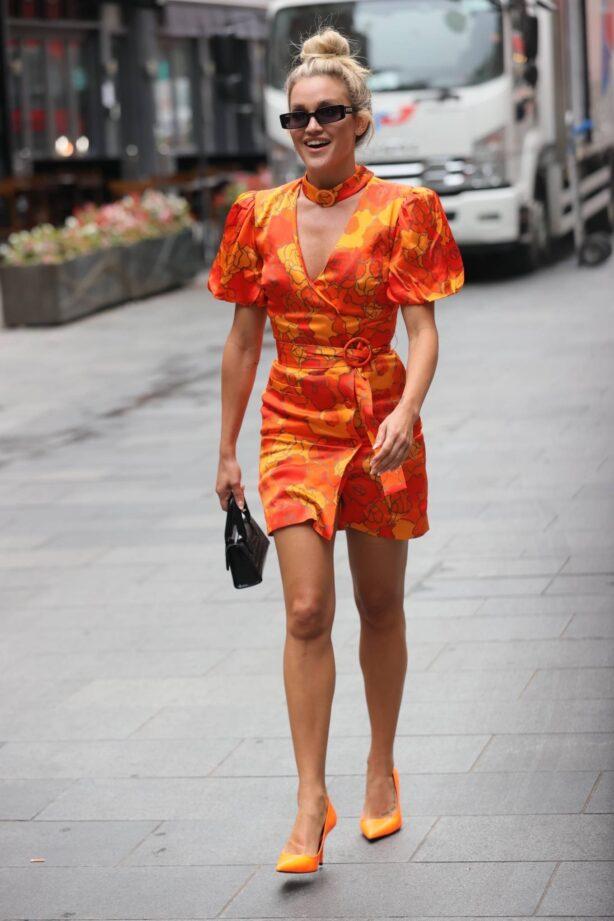 Ashley Roberts - Wears striking orange mini dress at Heart radio in London
