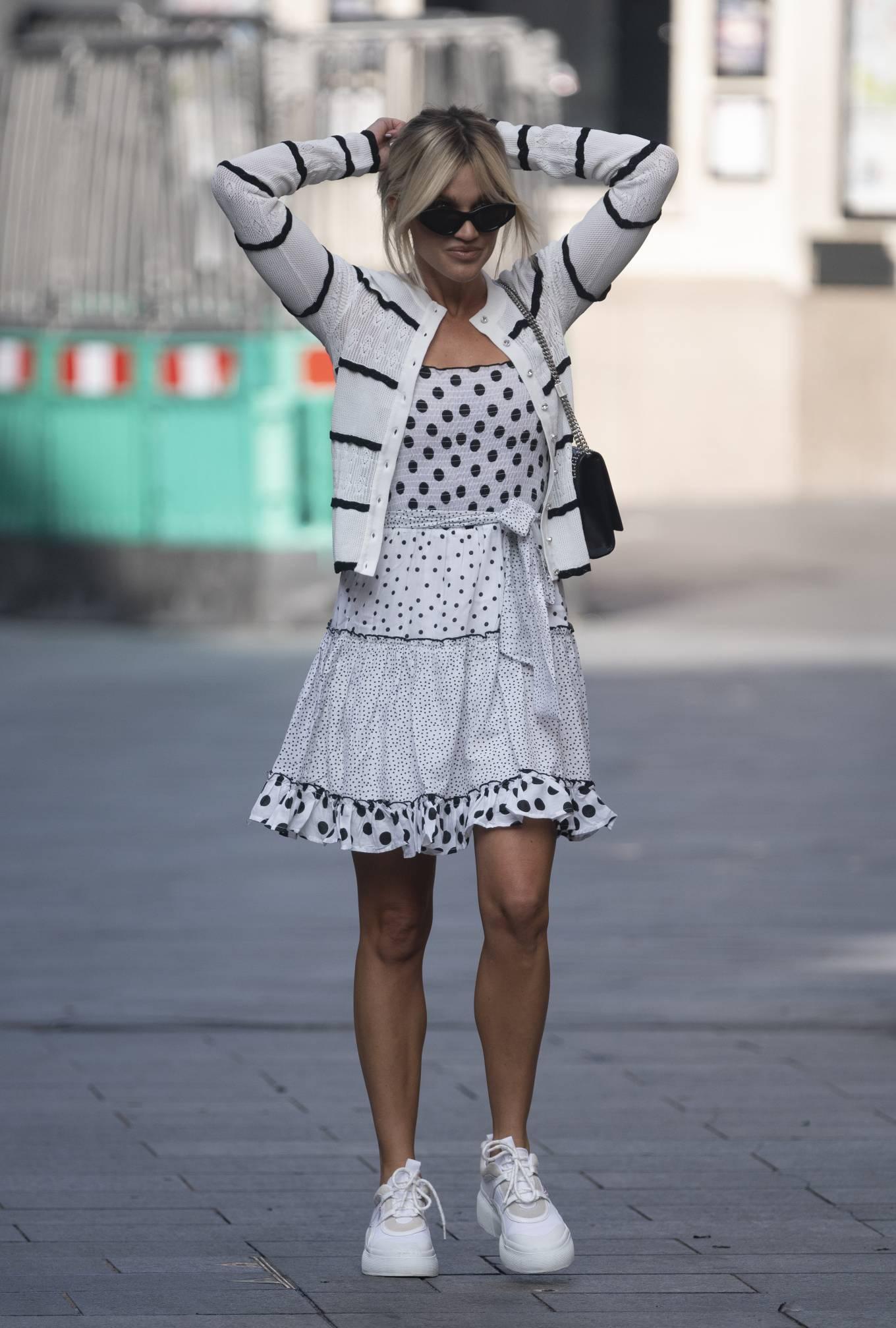 Ashley Roberts - Wears White Polka Dot dress in London