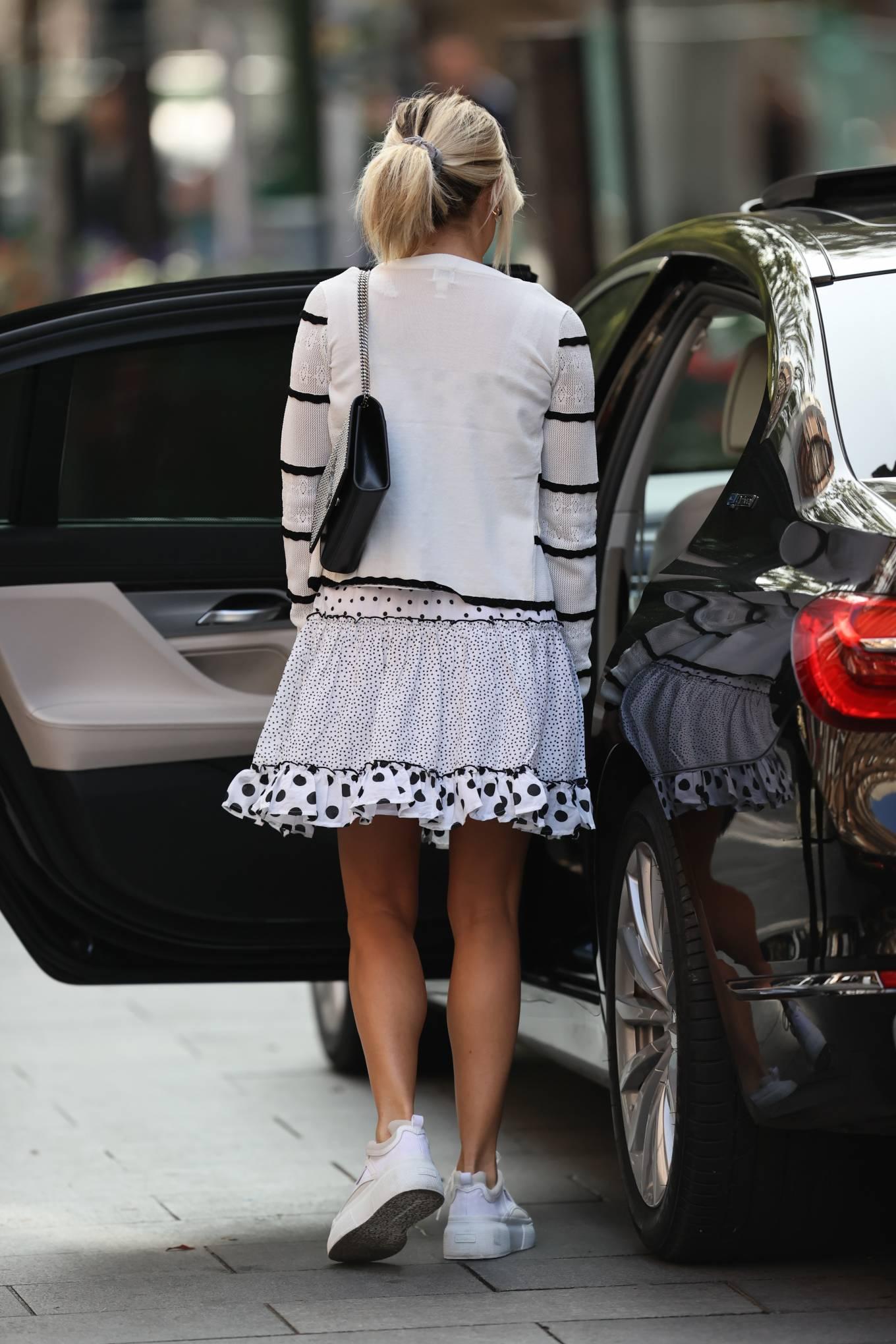 Ashley Roberts 2020 : Ashley Roberts – Wears White Polka Dot dress in London-02