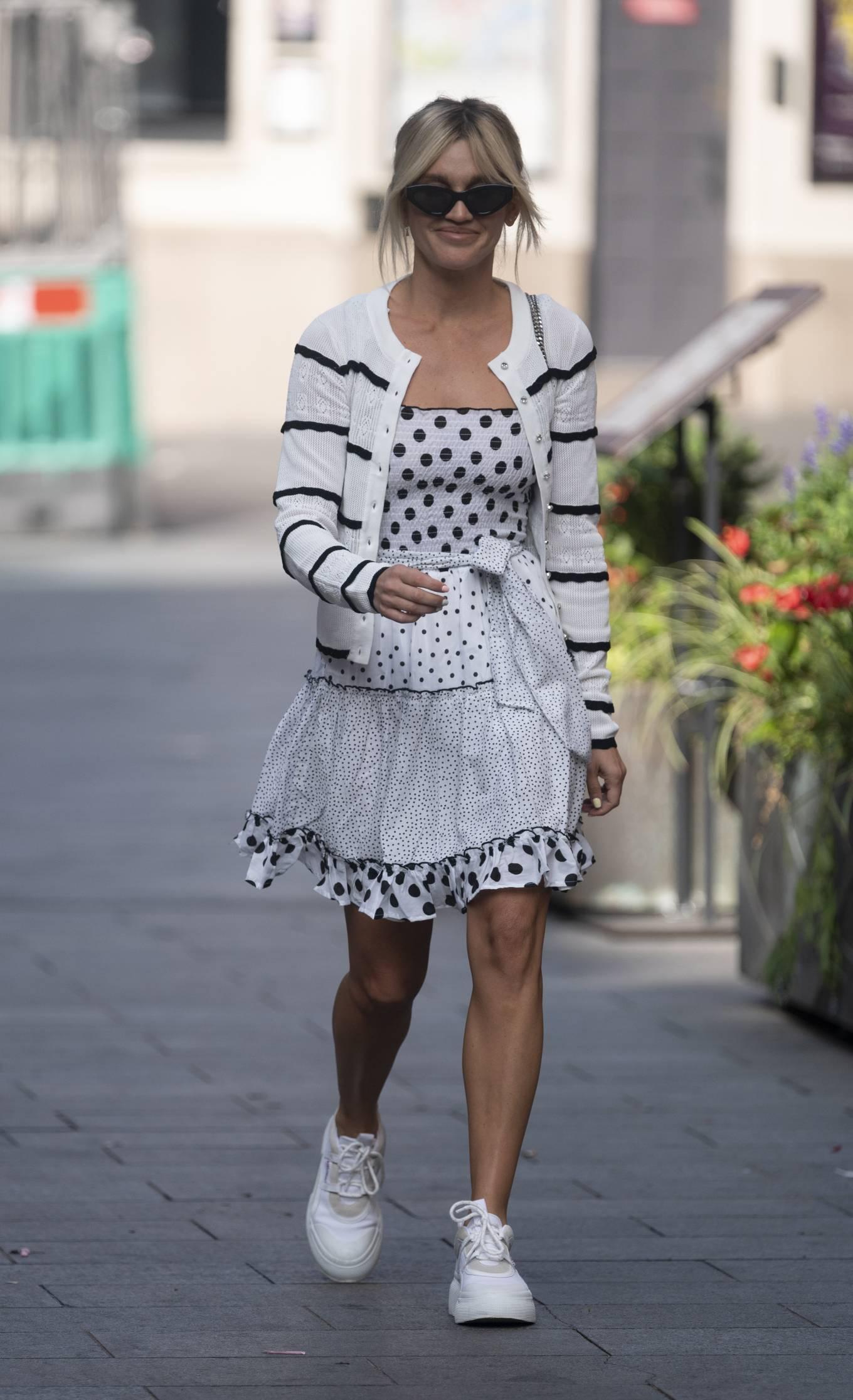 Ashley Roberts 2020 : Ashley Roberts – Wears White Polka Dot dress in London-03