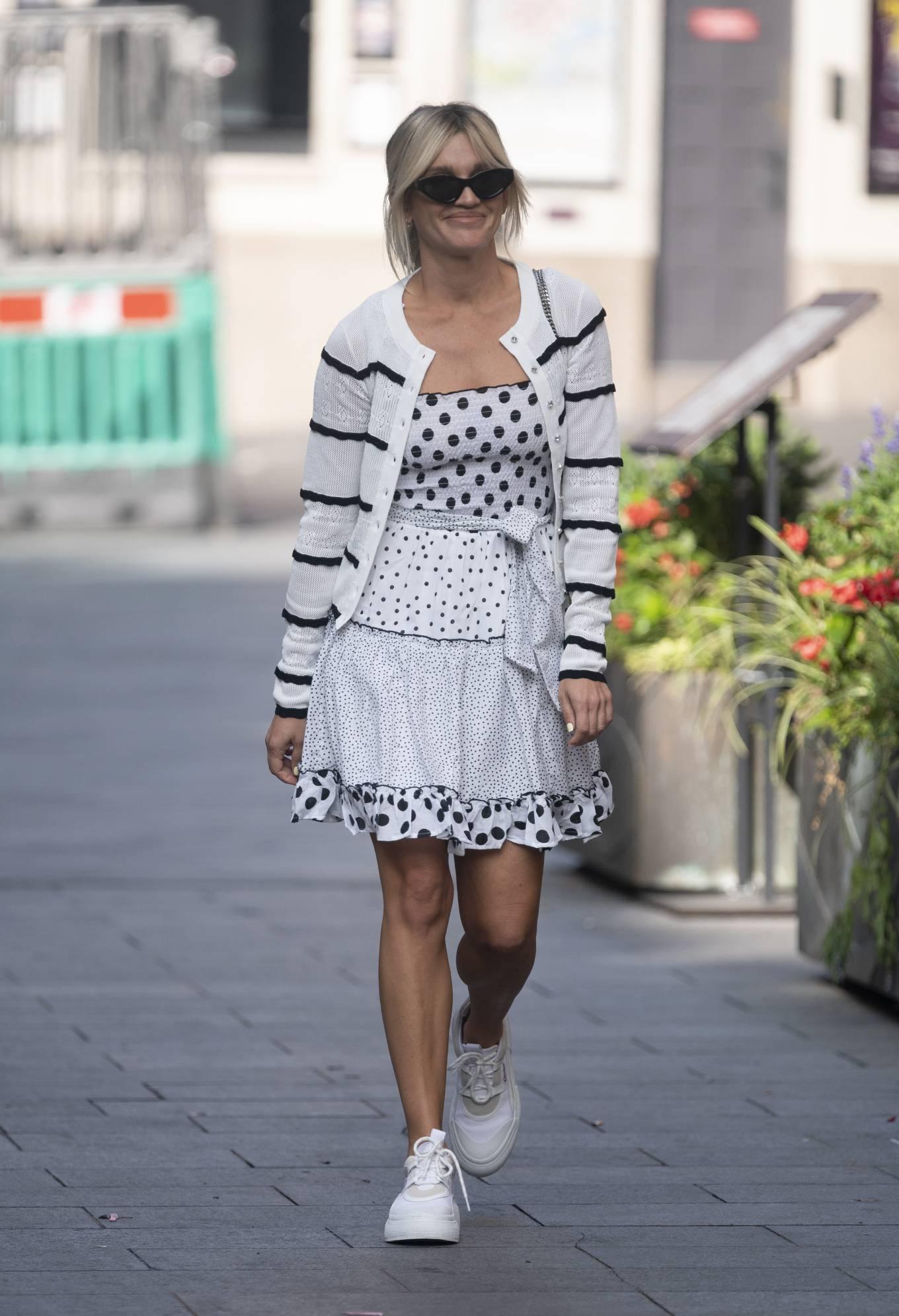 Ashley Roberts 2020 : Ashley Roberts – Wears White Polka Dot dress in London-06
