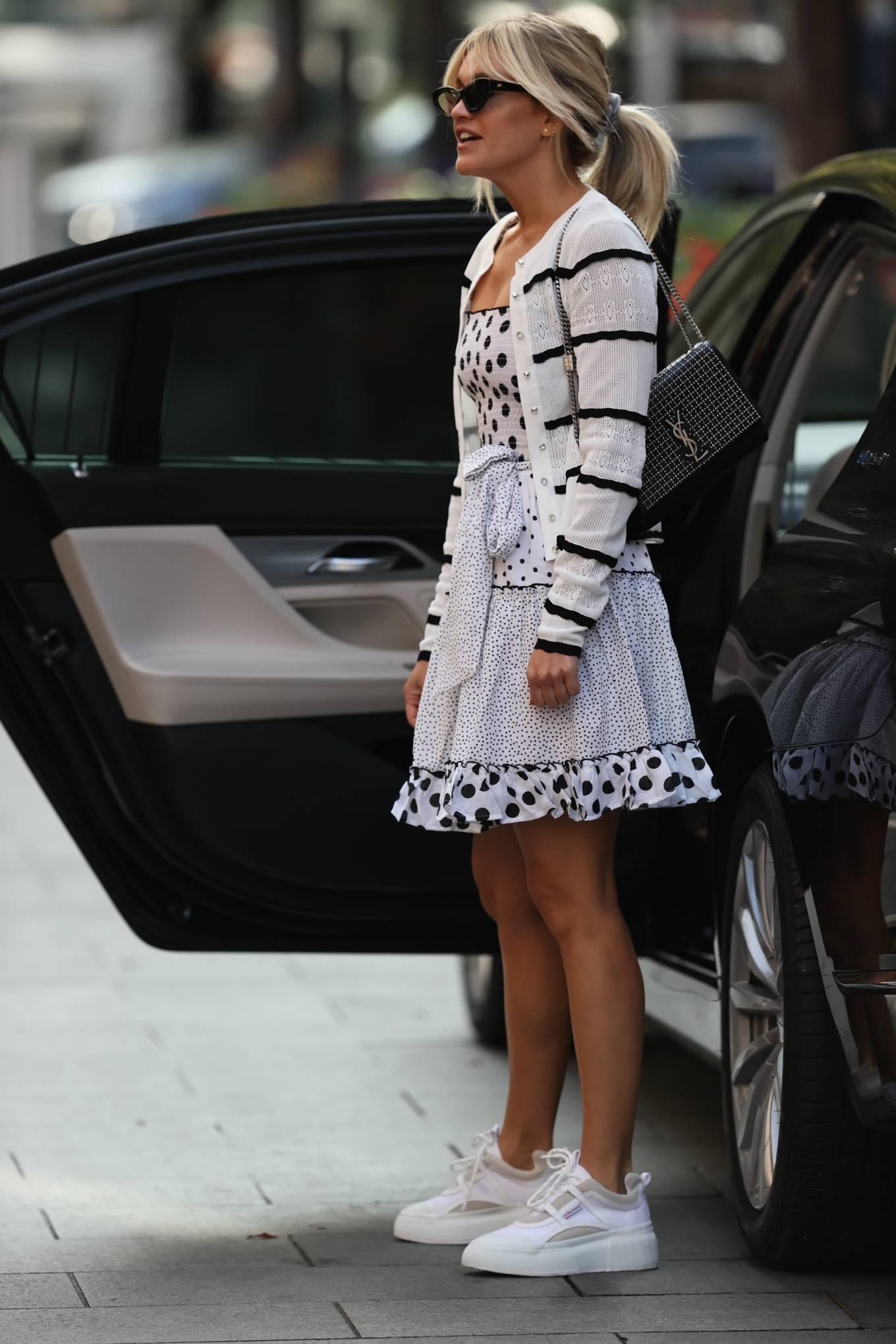 Ashley Roberts 2020 : Ashley Roberts – Wears White Polka Dot dress in London-07