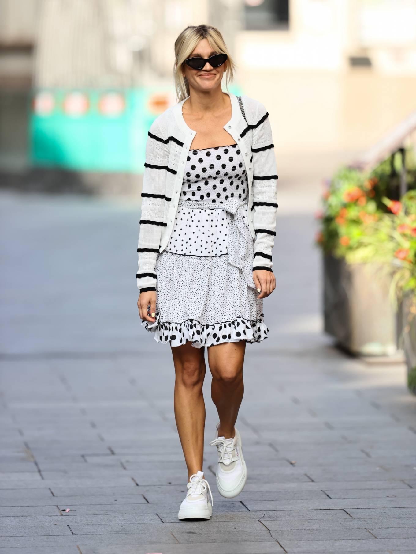Ashley Roberts 2020 : Ashley Roberts – Wears White Polka Dot dress in London-08