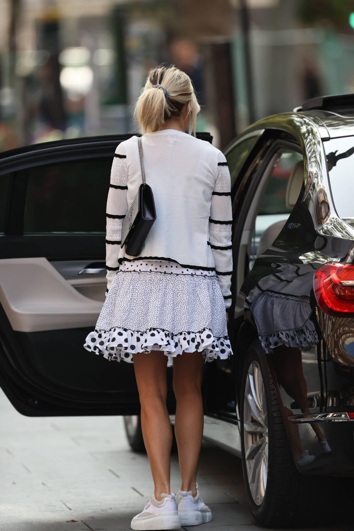 Ashley Roberts 2020 : Ashley Roberts – Wears White Polka Dot dress in London-13