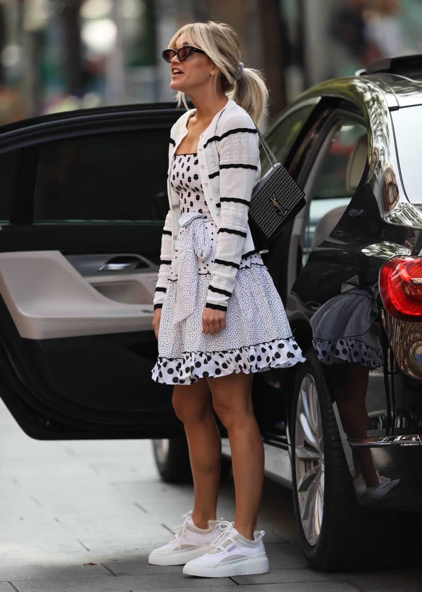 Ashley Roberts 2020 : Ashley Roberts – Wears White Polka Dot dress in London-16