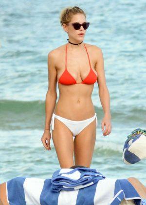Ashley Smith in Red and White Bikini in Miami