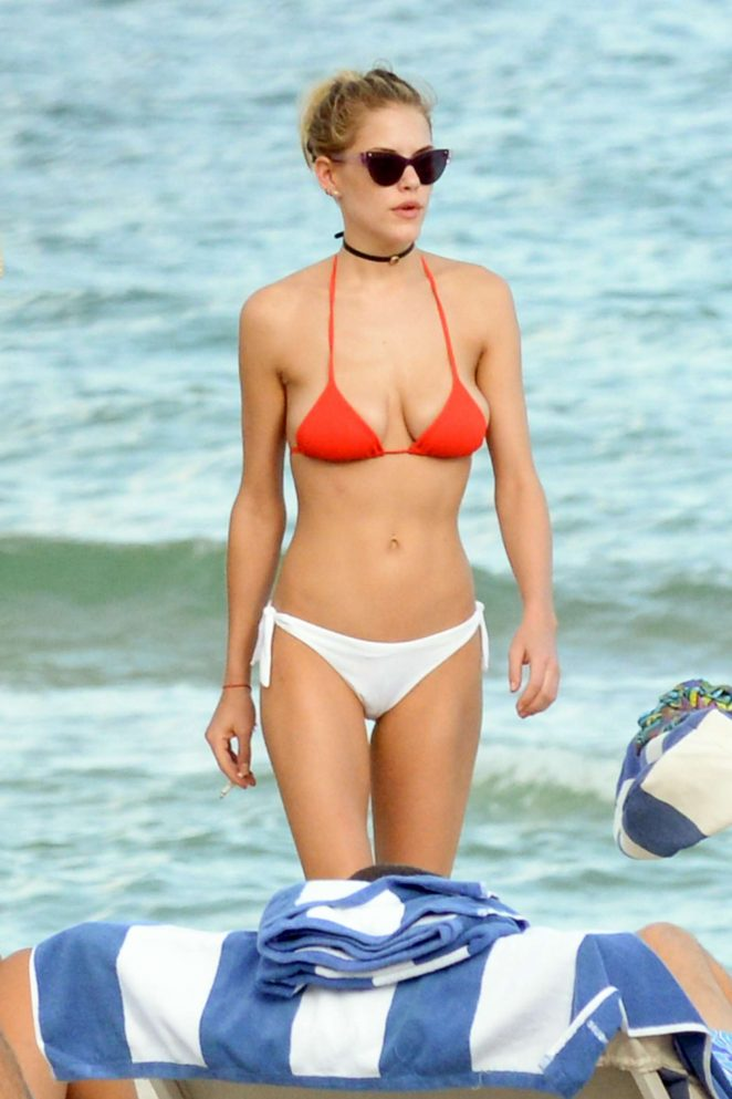 Ashley Smith in Red and White Bikini in Miami