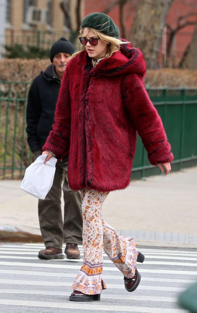 Ashley Smith in Red Fur Coat Out in New York