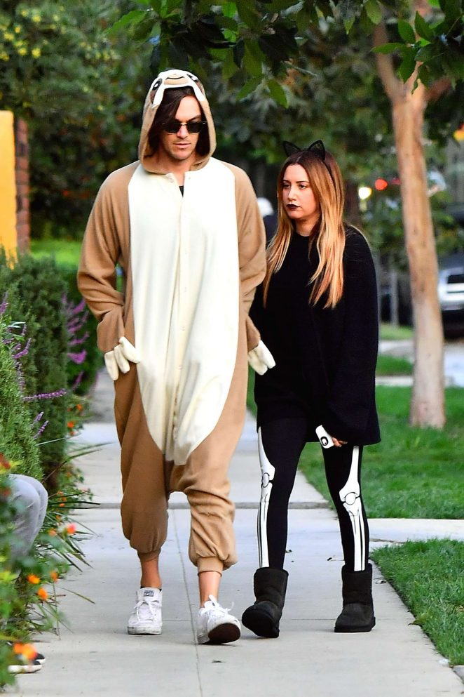 Ashley Tisdale and Christopher French at Trick or Treating on Halloween in Toluca Lake