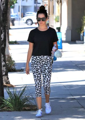 Ashley Tisdale - Hits the gym wearing skull leggings in Studio City