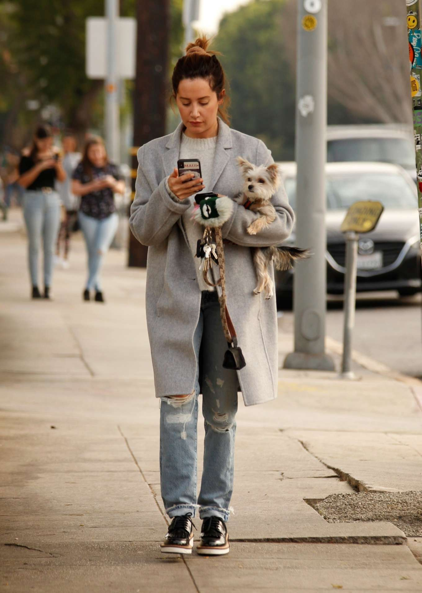 Ashley Tisdale in a grey downcoat in Los Angeles