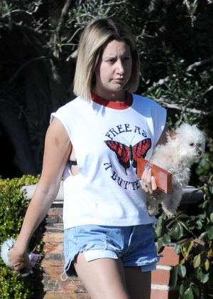 Ashley Tisdale in Denim Shorts - Out in Los Angeles