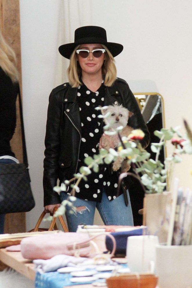 Ashley Tisdale in Leather Jacket – Shopping in Los Angeles