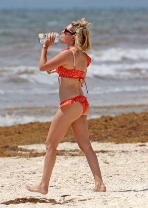 Ashley Tisdale in Red Bikini at a beach in Mexico