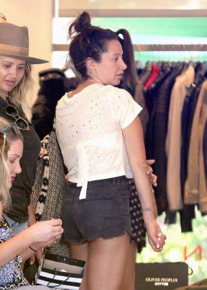 Ashley Tisdale in Shorts Shopping in Malibu