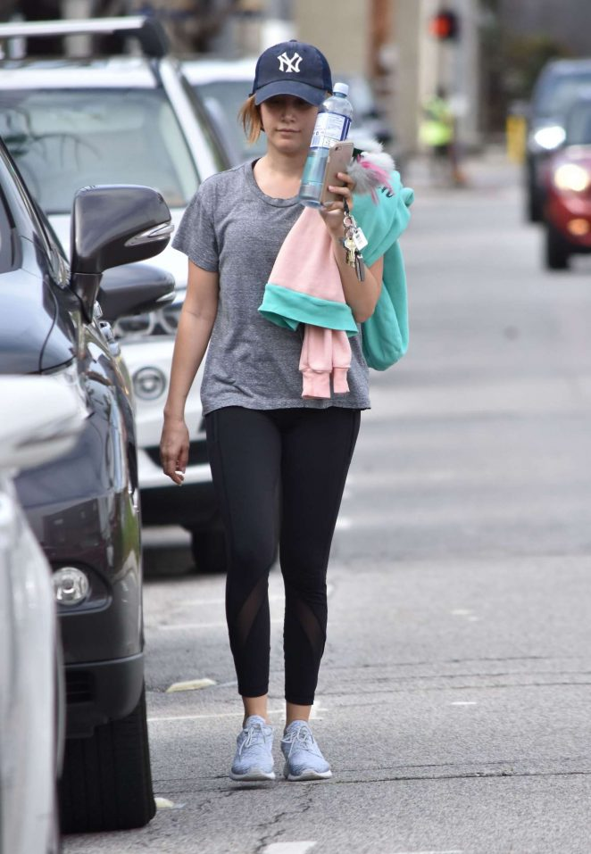 Ashley Tisdale in Tights Leaves the gym in Studio City