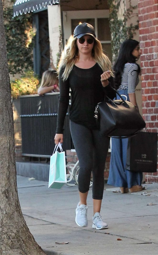 Ashley Tisdale in Tights Shopping in Los Angeles