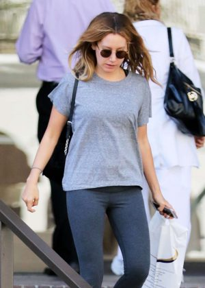 Ashley Tisdale in Tights Visits a Dermatologist in Beverly Hills