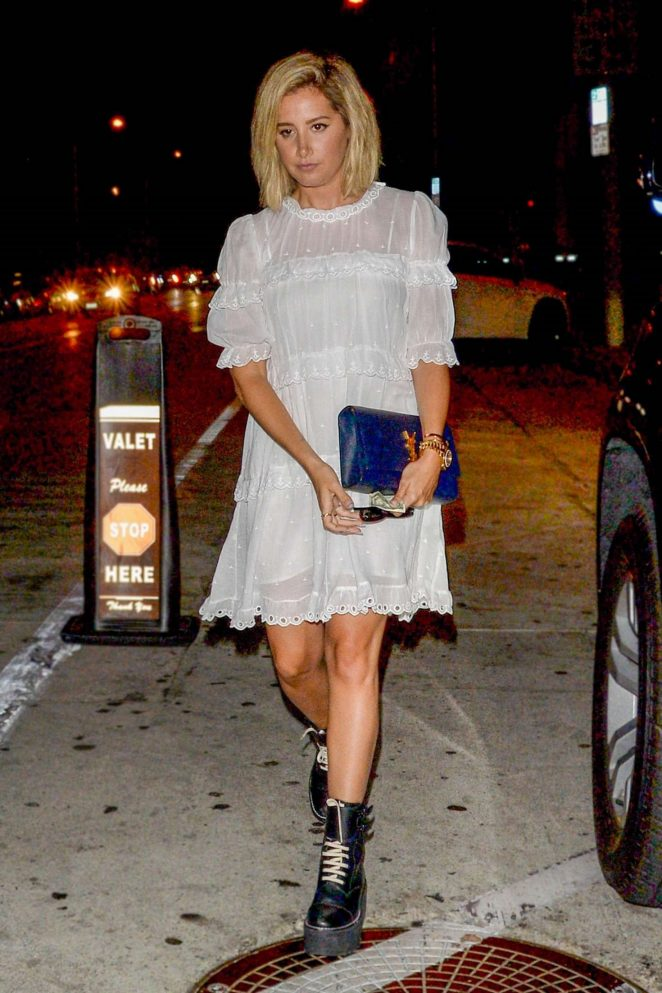 Ashley Tisdale in White Dress - Out in Los Angeles