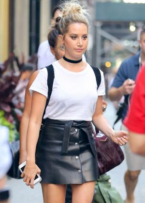 Ashley Tisdale in Leather Mini Skirt in New York City