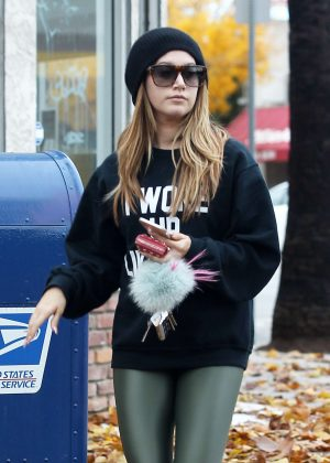 Ashley Tisdale - Leaving her pilates class in Los Angeles