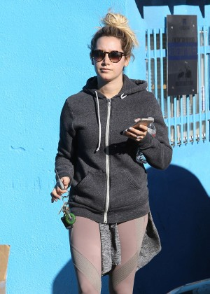 Ashley Tisdale in Spandex Leaving Pilates Class in Studio City