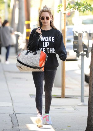 Ashley Tisdale in Tights Leaving the gym in LA
