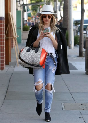 Ashley Tisdale in Ripped Jeans Out in Beverly Hills
