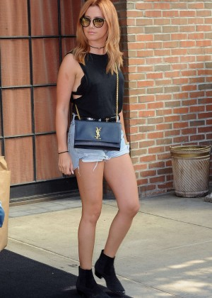 Ashley Tisdale in Jeans Shorts Out in NYC