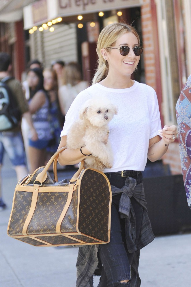 Ashley Tisdale With her dog out in Soho