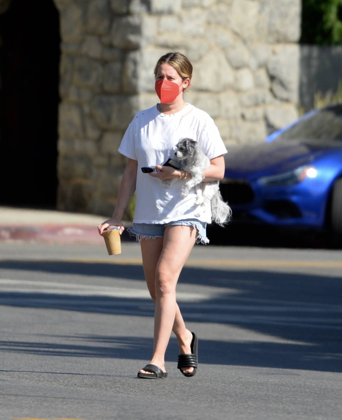 Ashley Tisdale 2021 : Ashley Tisdale – Out in Los Angeles with her little pooch-05